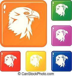 Eagle icons set vector color