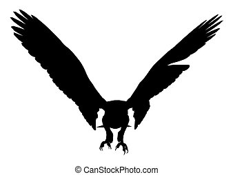 Eagle Illustration Silhouette - Black eagle art illustration...
