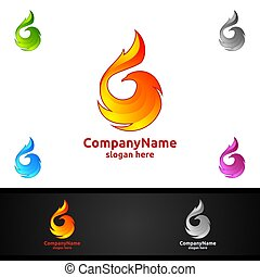 Eagle Logo with Fire and Flame Concept Vector Design