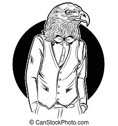 Eagle Man Hipster Style - Monochrome eagle man in hipster...