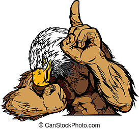 Cartoon Vector Mascot Image of an Eagle Flexing Arms and Holding up Finger