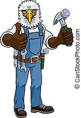 Eagle Mascot Carpenter Handyman Holding Hammer