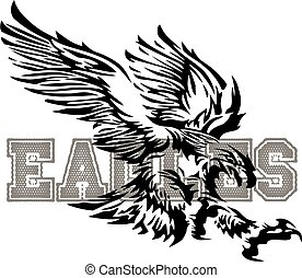 eagle mascot design with tribal flying eagle