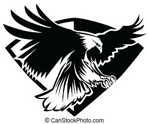 Graphic Mascot Image of a Flying Eagle over a badge template