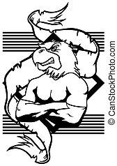 eagle mascot muscle crest shield