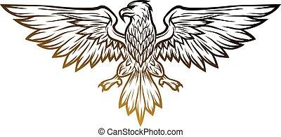 Eagle mascot spread wings.