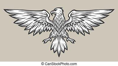 Eagle mascot spread wings. Symbol, mascot.