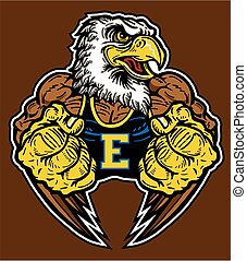 eagle mascot - muscular eagle mascot design for school,...