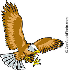 Eagle mascot with wings spread flying through the air.