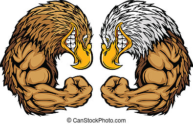 Cartoon Image of a Bald Eagle and Golden Eagle and Flexing Arms