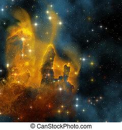 EAGLE NEBULA - The famous colorful nebula shines bright with...