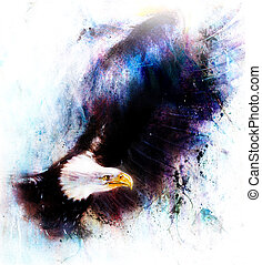 eagle on an abstract background, color with spot structures