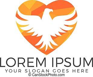 Eagle or Hawk Bird heart shape Logo abstract design vector template.