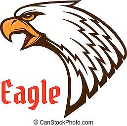 Eagle or hawk head mascot with screaming bird
