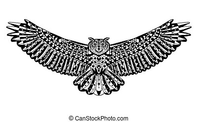 Eagle owl bird. Animals. Hand drawn doodle. Ethnic patterned vector illustration