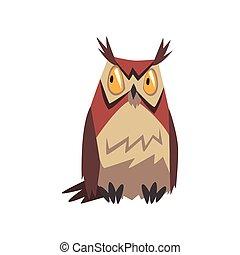 Eagle Owl Bird, Great Horned Owl Character Vector Illustration