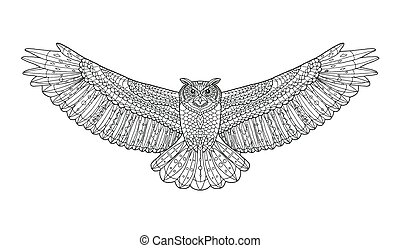 Eagle owl. Coloring page. Ethnic patterned vector illustration.