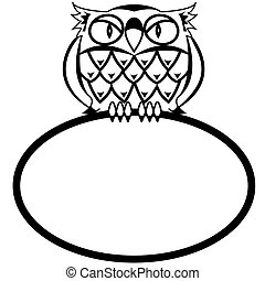 eagle owl - Frame - a bird an owl in a vector