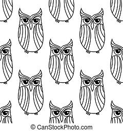 Eagle owls seamless pattern background