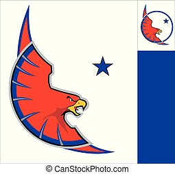 Eagle, Red  Eagle on white circle, eagle mascot.