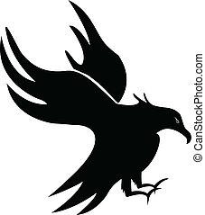 Eagle silhouette - Eagle bird silhouette logo vector