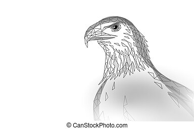 Eagle sitting bird profile. American national symbol. Low poly blue polygonal economic politics concept vector illustration