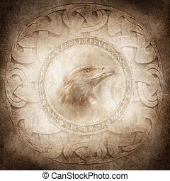 Eagle Spirit - Eagle head enclosed within a corroded ring of...
