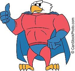 Eagle superhero thumb up gesture