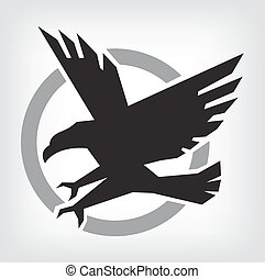 Eagle symbol, emblem design, attacking eagle illustration.