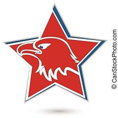 Eagle symbol red star logo