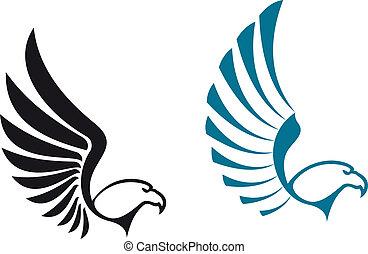 Eagle symbols isolated on white background for mascot or...