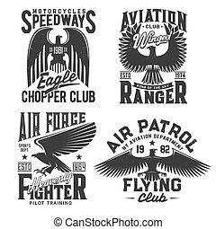 Eagle t-shirt print with aviation, motorcycle races and fight club vector emblems. Gothic eagle with wings and stars, pilot academy, air patrol and motor sport speedway grunge signs for shirt prints
