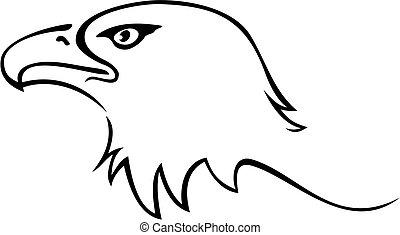 Eagle tattoo - Illustration of eagle head isolated on white...
