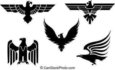 Eagle tattoos - Eagle symbol isolated on white for tattoo...