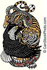 eagle tiger snake tattoo - eagle snake and tiger. Three ...