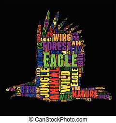 Eagle Typography word cloud colorful Vector illustration