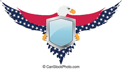 eagle usa - illustration of united of states shield with...