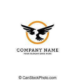 Eagle Vector Logo Template, eagle fly in circle vector illustration, Wild eagle Bird Falcon Hawk
