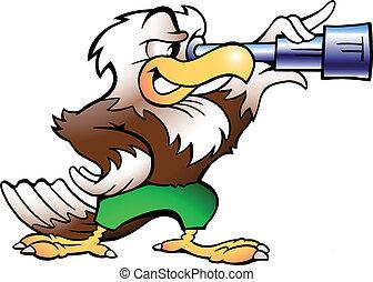Eagle Watching in Binucular - Handdrawn vector illustration