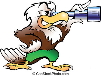 Eagle Watching in Binucular - Handdrawn vector illustration...