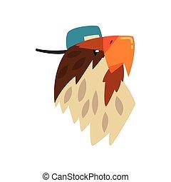 Eagle wearing baseball cap, bird portrait cartoon vector Illustration on a white background