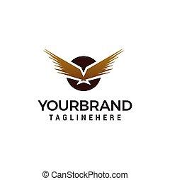 eagle wing in circle logo design concept template vector