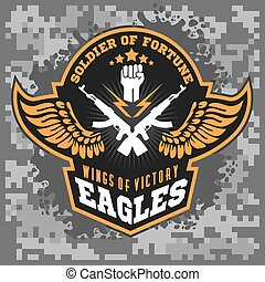 Eagle wings - military label, badges and design elements....