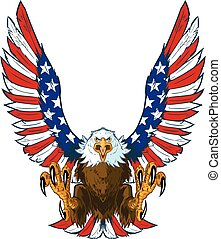 Vector cartoon clip art illustration of a mean screaming bald eagle flying toward the viewer with wings spread and talons out. Wings are treated with American flag graphics and colors.
