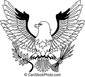 Eagle with arrows and leaves in black and white