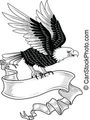 Eagle with Banner - Hand-drawn eagle holding a banner. Space...