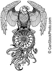 Eagle with dreamcatcher. Black and white