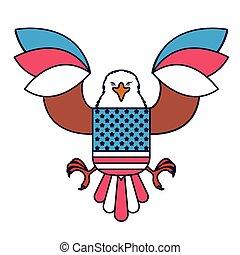 eagle with flag usa isolated icon design