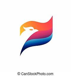 eagle with flag vector logo