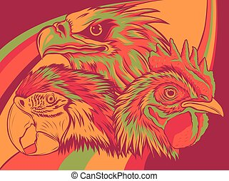 Eagle with rooster and parrot vector